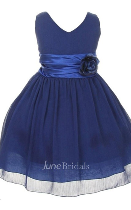 Sleeveless V-neck A-line Pleated Dress With Flower