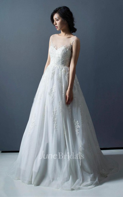 2533c39721b Bateau Illusion Neck A-Line Tulle Dress With Appliques - June Bridals