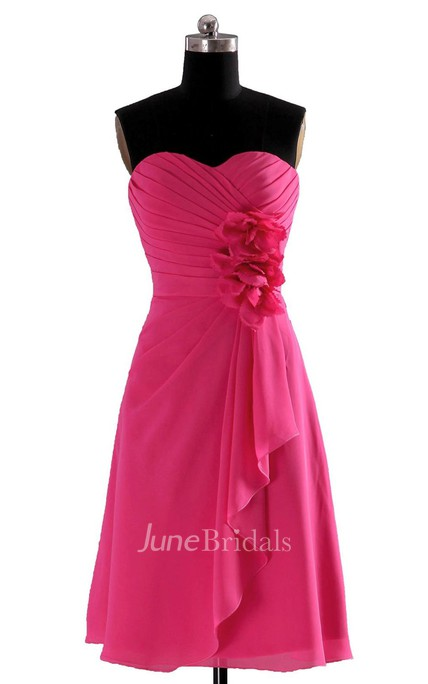 Sweetheart Short Dress With Draping and 3D Flower