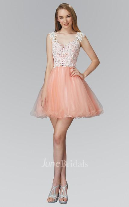 0d2755dcfaf A-Line Short V-Neck Cap-Sleeve Tulle Lace Dress With Appliques - June  Bridals
