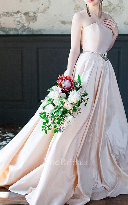 Strapless Taffeta A-Line Wedding Dress With Beading on Waist