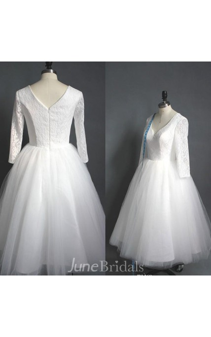 0dfe63d5504fd Tea Length High Quality A-line V Neck Lace Top Puffy Tulle Short Wedding  Dress with Sleeves