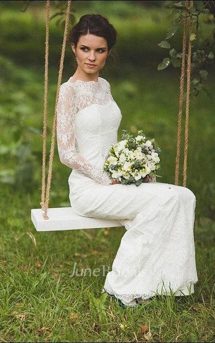 Scalloped Illusion Sleeve Keyhole Back Sheath Long Lace Wedding
