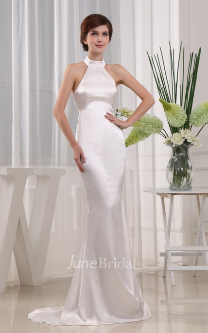 Sleeveless Satin Sheath Dress With Collar and Brush Train