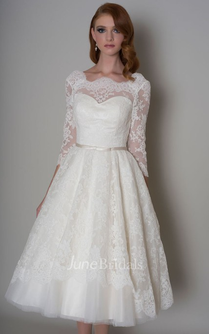 a44da8787035 A-Line Knee-Length Half-Sleeve Appliqued Bateau-Neck Lace Wedding Dress -  June Bridals