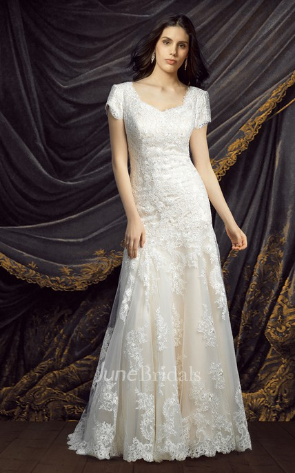 Modest Short Sleeve Lace Wedding Dress June Bridals