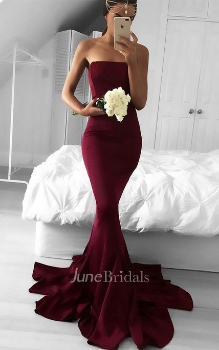 Strapless Sweep Brush Train Satin Sleeveless Ruffles Dress