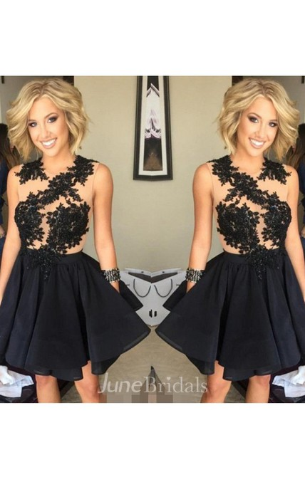 A-line Jewel Sleeveless Appliques Ruching Ruffles Short Mini Chiffon Lace Homecoming Dress