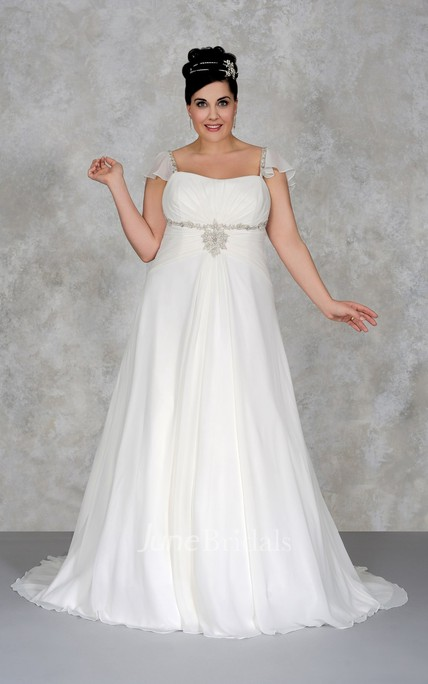 621d7006ddf Chiffon Caped-Sleeve A-Line Sheath Dress With Broach - June Bridals