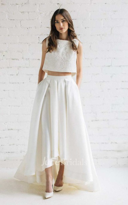 Bateau Sleeveless Two-Piece A-Line Satin Wedding Dress