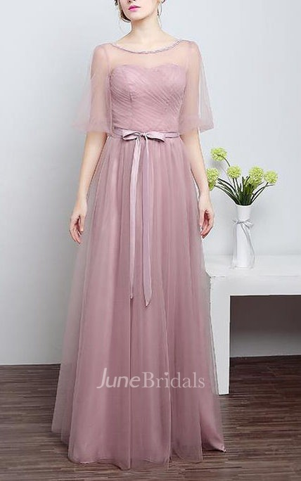 A-line Bow Flower Sash Tulle Illusion Dress