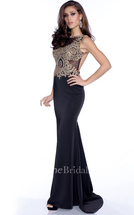 Sleeveless Open Back Form-Fitted Chiffon Prom Dress With Beadwork