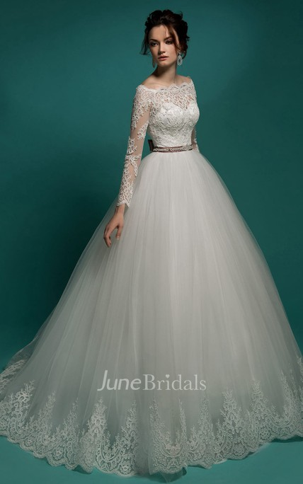 A-Line Maxi Off-The-Shoulder Illusion-Sleeve Zipper Tulle Dress With Lace Appliques And Appliques