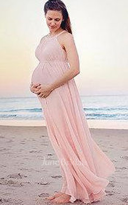 Chiffon Pink Long Maternity Beach Bridesmaid Dress