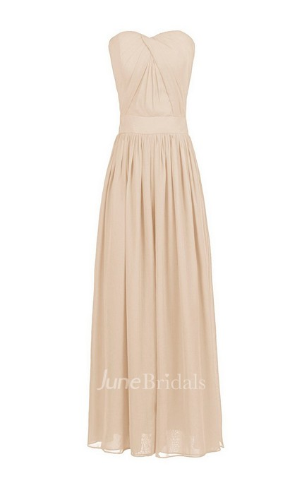 Strapless Chiffon Dress With Crisscross Pleats