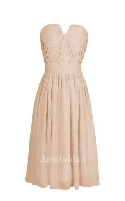 Strapless Short Chiffon Dress With Notched Neckline