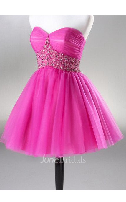 Sweetheart Mini A-line Organza Dress With Beaded Waistline