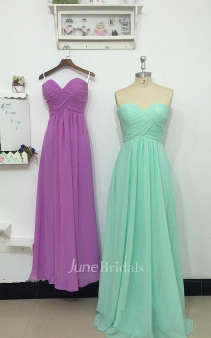 A-line Maxi Sweetheart Chiffon Dress With Ruching