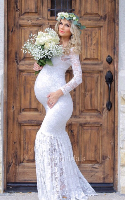 10f9c20320a5b Sexy Mermaid Scoop Illusion Sleeve Lace Maternity Wedding Dress - June  Bridals