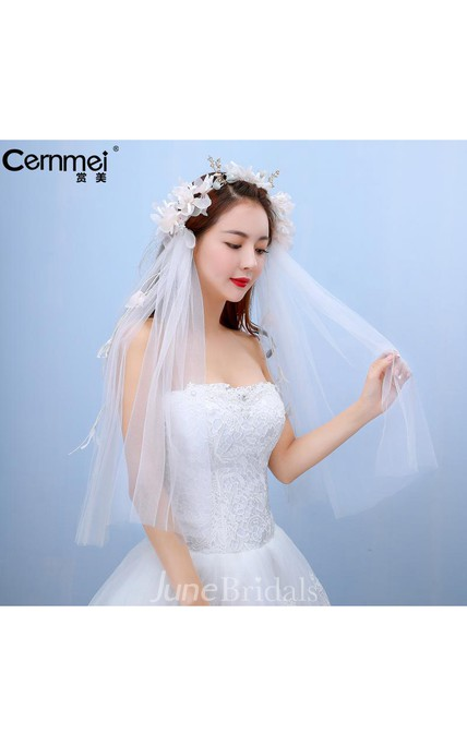 Korean Bride Yarn Short Thread Yarn Bride Qi Floor Wedding Short Head Yarn Flower Head Ornaments