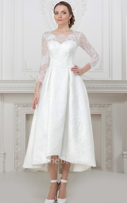 91e211bca62 A-Line Long-Sleeve High-Low Scoop-Neck Lace Wedding Dress With Lace Up -  June Bridals