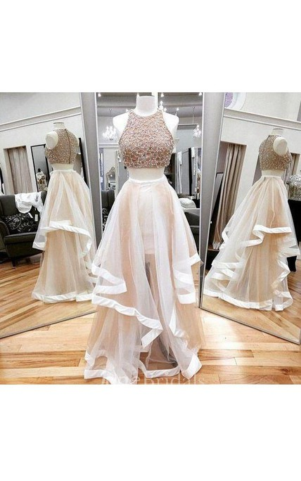 Floor-length Sleeveless A-line Tulle Dress with Ruffles