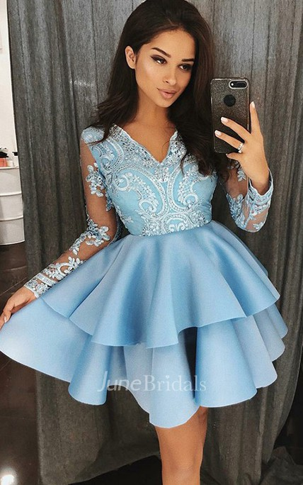 A-line V-neck Long Sleeve Beading Lace Ruffles Tiers Short Mini Satin Lace Homecoming Dress