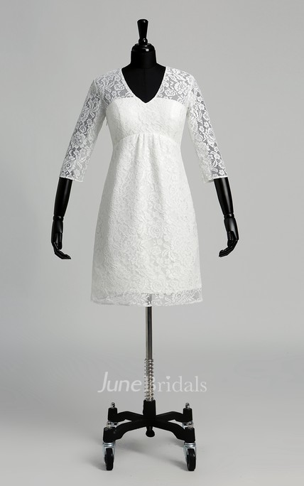 Knee-length A-line V-neck Illusion 3/4 Length Sleeve Illusion Lace Weeding Dress