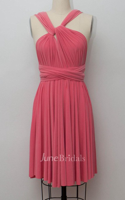 dcd99be0c1c Coral Short Infinity Convertible Formal Multiway Wrap Dress - June Bridals