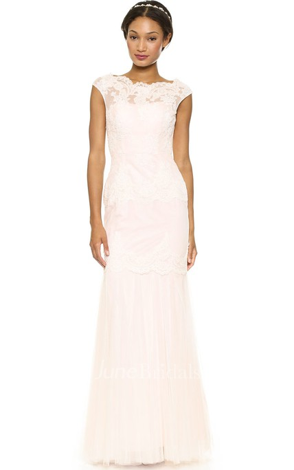 Bateau Neckline Sheath Lace Floor-length Dress With Keyhole Back Style