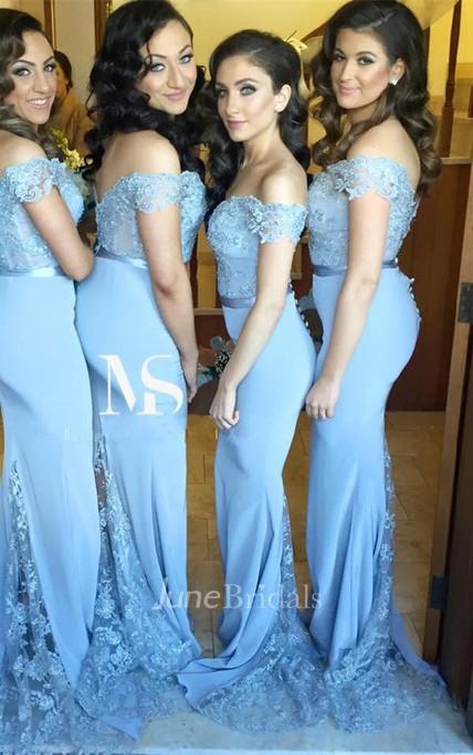 9236b50b87bf1 Sexy Off-the-shoulder Mermaid Lace Appliques Bridesmaid Dress 2018 Zipper  Button Back - June Bridals