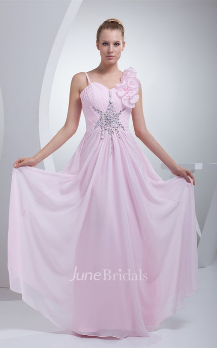 Spaghetti-Straps Ruched Floor-Length Dress with Beading and Floral Embellishment