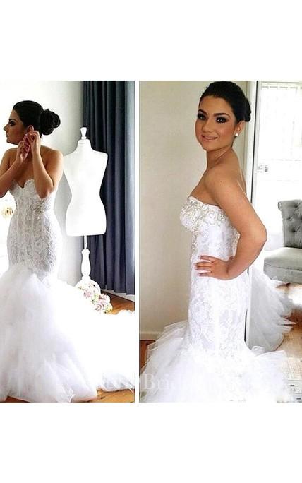 fd79b3547b7 Beads Sequins Crystals Jewel Neck Detachable bolero Button Mermaid Lace Wedding  Dress - June Bridals