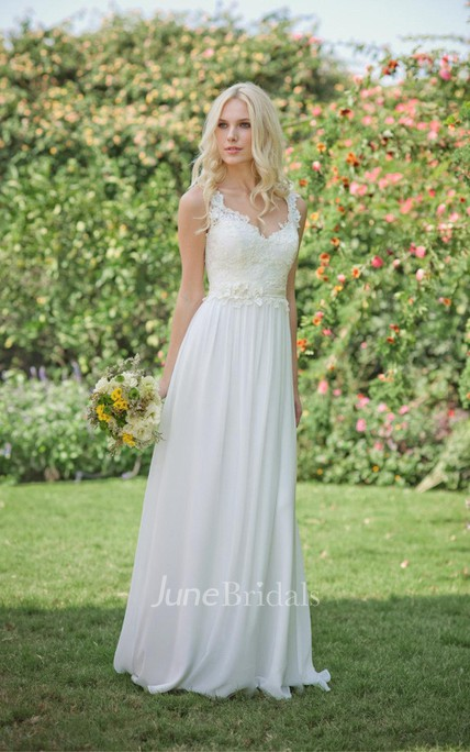 Long Chiffon Lace Weddig Dress With Beading Flower