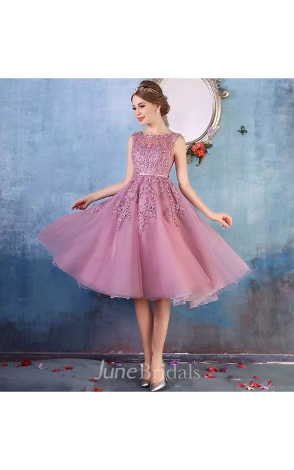 e9e860ff3a Tulle Adorable A-Line Scoop Petite Shortn Mini Sleeveless Zipper Back  Appliques Bridesmaid Dress - June Bridals