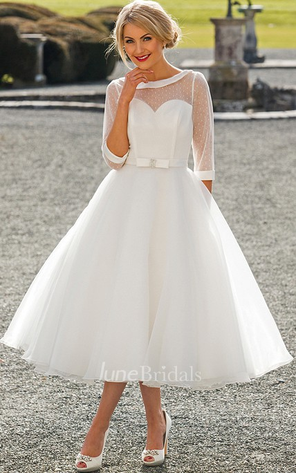 5eb404b018a25 Tea-Length A-Line Bateau Neck Illusion Sleeve Bowed Tulle Wedding Dress -  June Bridals