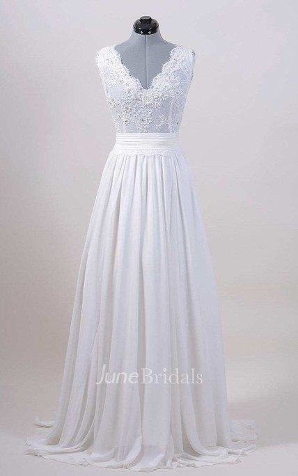 Chiffon Satin Lace Low-V Back Wedding Dress