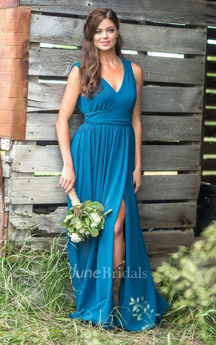 Chiffon V-neck Sleeveless Low-V Back Bridesmaid Dress