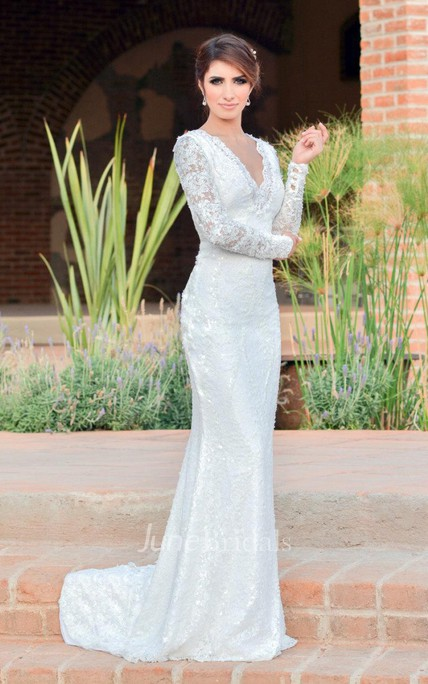 Mermaid Long Sleeve Lace Dress With Beading Sequins Embroideries