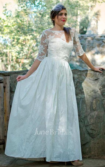 Bateau Illusion Half Sleeve Lace Floor-Length Wedding Dress With Low ...