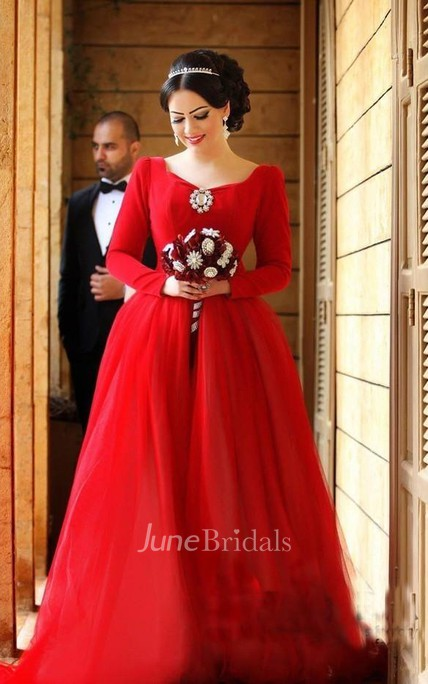 e5b9c004f2 Newest Long Sleeve Tulle Red Wedding Dress Bowknot Long Train - June Bridals