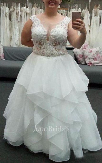 2e00baf679 Elegant Plus Size Sleeveless Applique Zipper Ruched Lace Top Bridal Dress