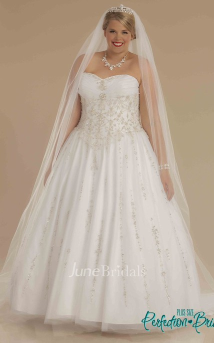Ball Gown Sweetheart Ruched Tulle Plus Size Wedding Dress With ...