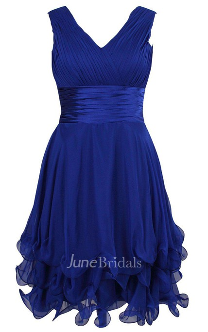 Sleeveless V-neck A-line Dress With Ruffles