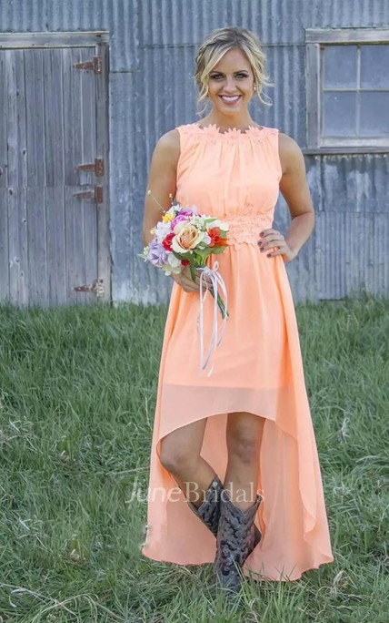A-line Jewel Sleeveless High-low Chiffon Bridesmaid Dress with Appliques and Ruching