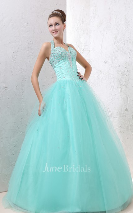 A-Line Princess Ball Gown With Embellished Top And Soft Tulle
