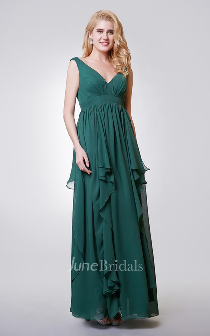 V-neck A-line Long Chiffon Dress With Tiers
