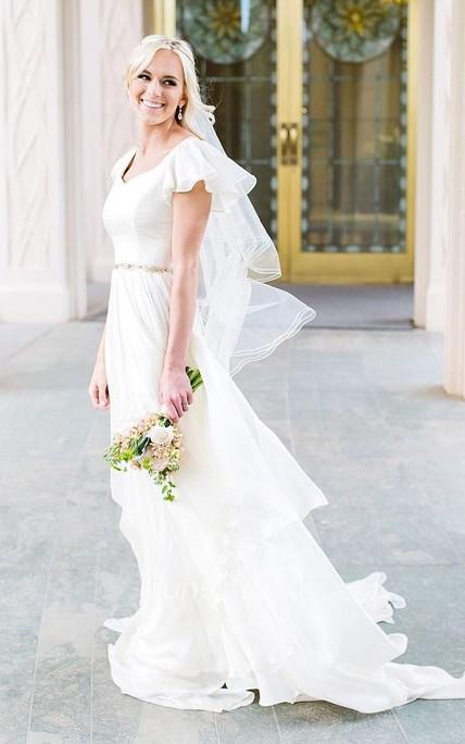 Flowy Beach Short Sleeves Beaded Belt Temple Chiffon Modest Wedding ...