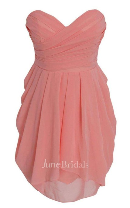 Sweetheart Short Chiffon Dress With Ruching