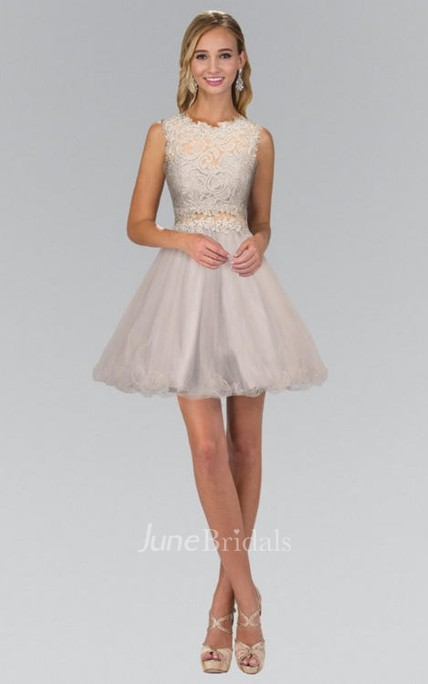 A-Line Short Jewel-Neck Sleeveless Lace Illusion Dress With Appliques